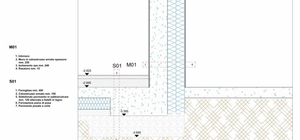 casa in paglia - disegno tecnico parete interrato