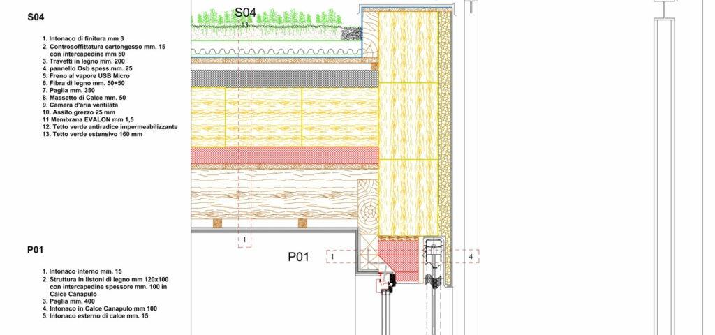 casa di paglia - Disegno tecnico attacco copertura parete